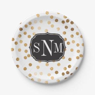 Puntos cones monograma del brillo del blanco y del platos de papel