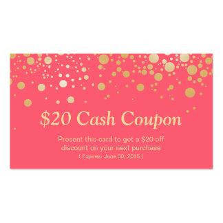 Puntos coralinos rosados elegantes del oro de la tarjetas de visita