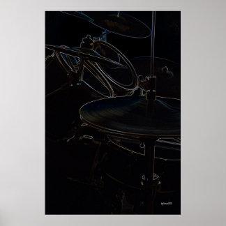 Puntos culminantes de la vista lateral de Drumset Póster