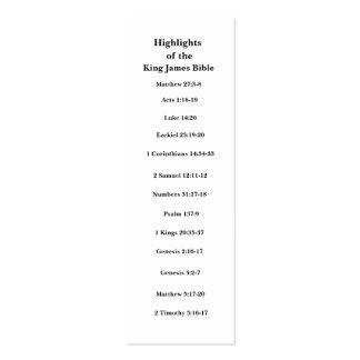 Puntos culminantes del rey James Bible Plantilla De Tarjeta Personal