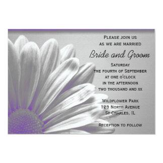 """Puntos culminantes florales púrpuras que casan la invitación 5"""" x 7"""""""