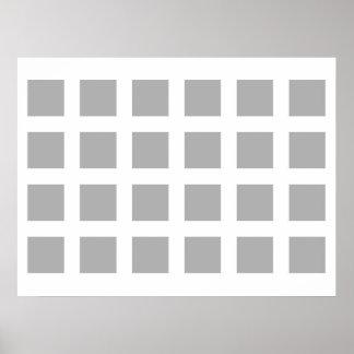 Puntos de desaparición de la ilusión óptica grises póster