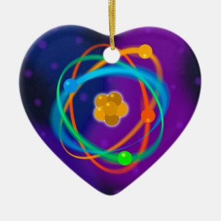 Puntos de la estructura atómica adorno navideño de cerámica en forma de corazón