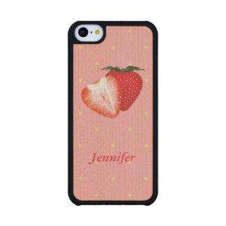 Puntos de la fresa con el texto adaptable funda de iPhone 5C slim arce
