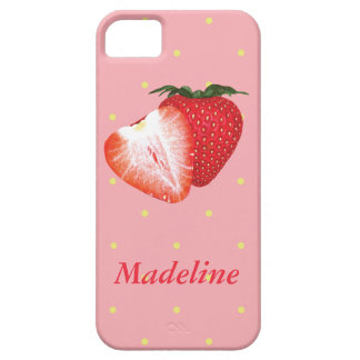 Puntos de la fresa con el texto adaptable iPhone 5 protector
