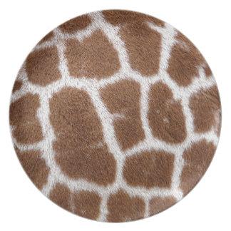 Puntos de la jirafa plato para fiesta
