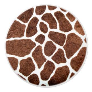 Puntos de la jirafa pomo de cerámica