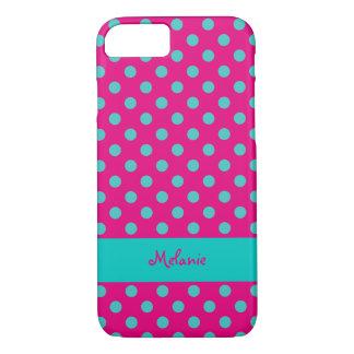 puntos de la turquesa sobre fondo del colorete con funda iPhone 7