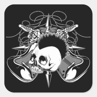 Puntos de las guitarras de los rosas del cráneo pegatina cuadrada