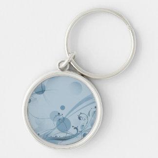Puntos de los círculos de los remolinos - azul llavero redondo plateado