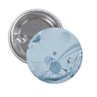 Puntos de los círculos de los remolinos - azul pin redondo de 1 pulgada