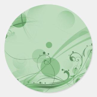 Puntos de los círculos de los remolinos - verde pegatina redonda