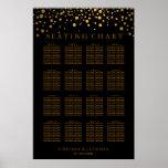 Puntos de moda del oro en el negro - carta del póster