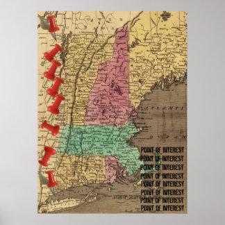 Puntos de Nueva Inglaterra del marcador del mapa d Posters