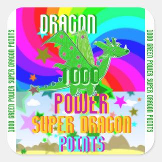 Puntos de poder estupendos del dragón del verde pegatina cuadrada
