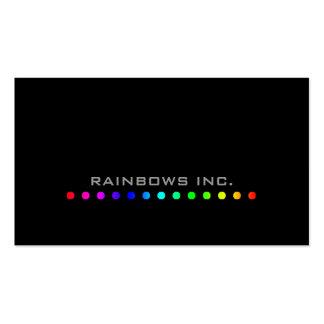 Puntos del arco iris en negro tarjetas de visita