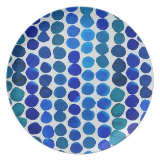 ¡Puntos del azul de la placa de la melamina! Plato De Comida