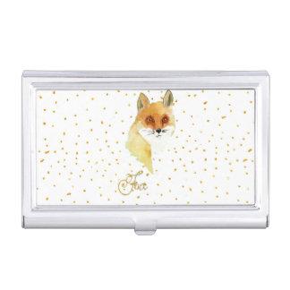 Puntos del brillo del oro del zorro de la acuarela cajas de tarjetas de negocios