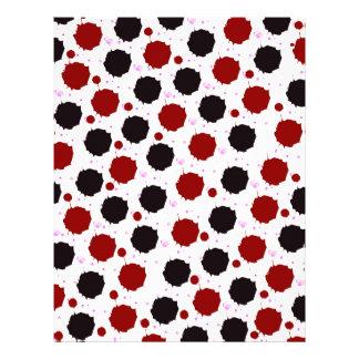 Puntos del chapoteo del rojo y del negro plantilla de membrete