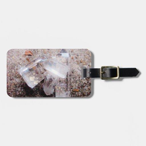 Puntos del cristal de cuarzo etiqueta de maleta