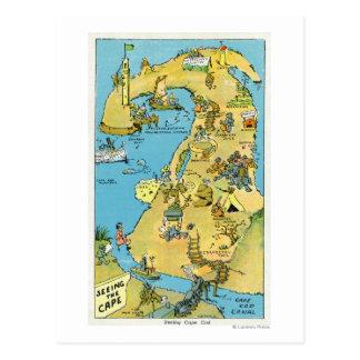 Puntos del dibujo animado del interés en Cape Cod Postales