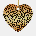 Puntos del guepardo - ornamento del corazón ornamentos para reyes magos