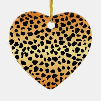 Puntos del guepardo - ornamento del corazón adorno de cerámica en forma de corazón