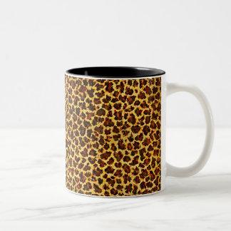 Puntos del leopardo de la mirada de la pintura al taza de dos tonos