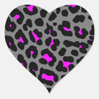 Puntos del leopardo del tigre 80s de Corey grises Calcomanías Corazones Personalizadas
