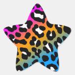 Puntos del leopardo del tigre 80s de Corey (multic Calcomanía Forma De Estrella