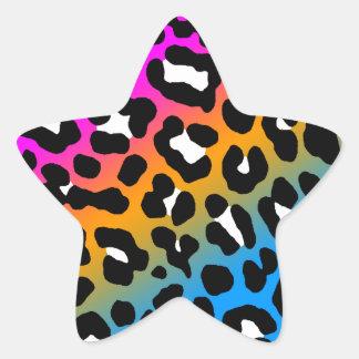 Puntos del leopardo del tigre 80s de Corey multic Calcomanía Forma De Estrella