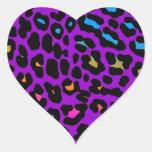 Puntos del leopardo del tigre 80s de Corey (púrpur Calcomanía Corazón Personalizadas