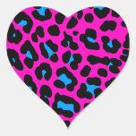 Puntos del leopardo del tigre 80s de Corey (rosa) Calcomanías De Corazones
