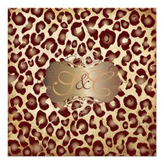 Puntos del leopardo del vintage + remolinos anuncio personalizado