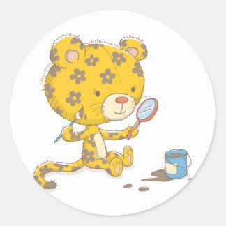 Puntos del leopardo pegatina redonda