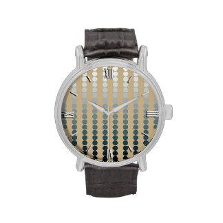 Puntos del satén - de color topo y gris del estaño relojes de mano
