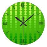 Puntos del satén - sombras de la verde lima reloj redondo grande