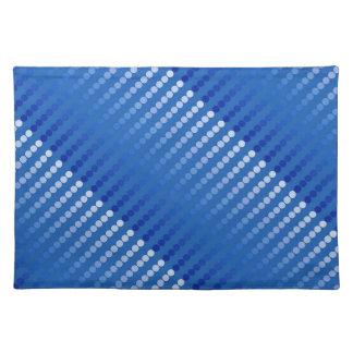 Puntos del satén - sombras del azul de acero mantel individual
