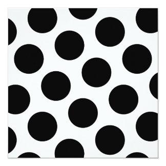 """Puntos diagonales negros grandes invitación 5.25"""" x 5.25"""""""