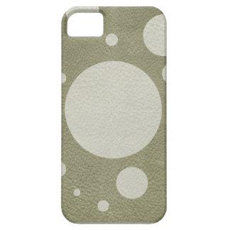 Puntos dispersados aceituna en la textura de cuero iPhone 5 fundas
