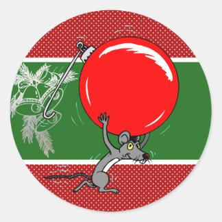 Puntos divertidos del rojo de Belces de plata del Pegatina Redonda