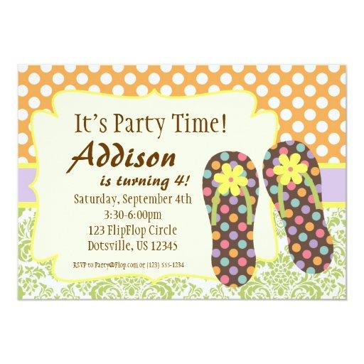 Puntos e invitación del cumpleaños del flip-flop