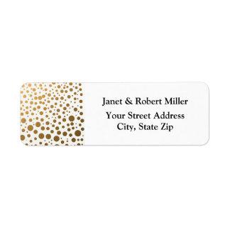 Puntos elegantes del confeti de la hoja de oro etiquetas de remite