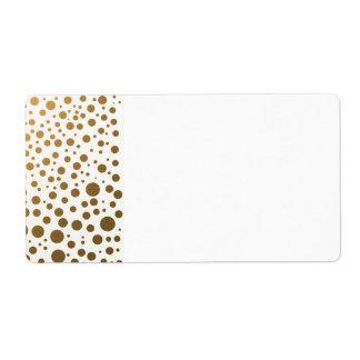 Puntos elegantes del confeti de la hoja de oro etiqueta de envío