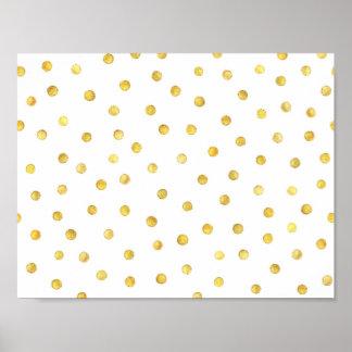 Puntos elegantes del confeti de la hoja de oro póster