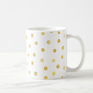 Puntos elegantes del confeti de la hoja de oro taza