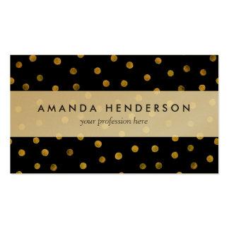 Puntos elegantes del confeti de la hoja del negro tarjetas de visita