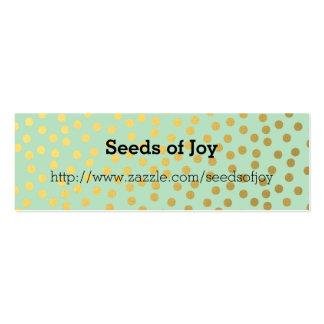 Puntos elegantes del confeti del oro de la menta tarjetas de visita mini