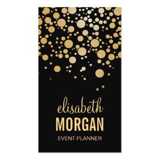 Puntos elegantes del confeti del oro - negro tarjetas de visita