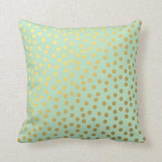 Puntos elegantes del oro de la menta almohada